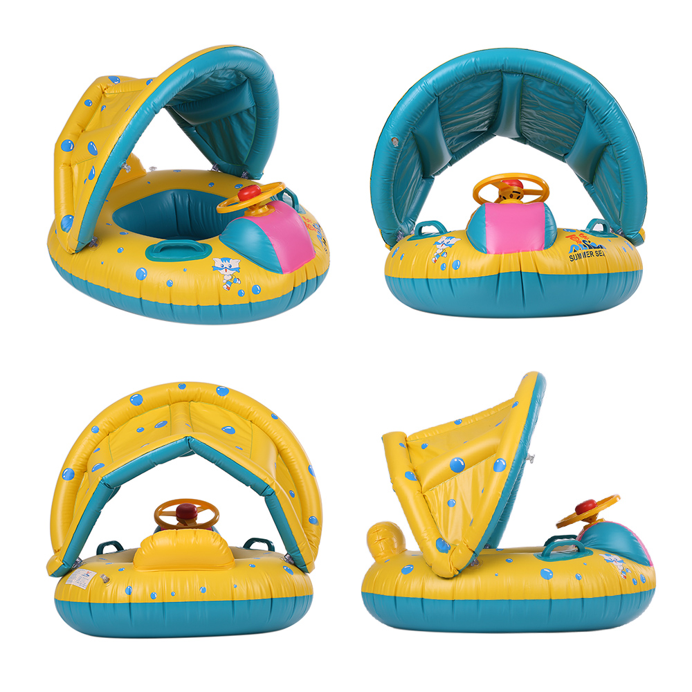 Summer Baby Swimming Pool Float Boat Rider With Detachable Sun Canopy Shade Toys For Baby Kid Children