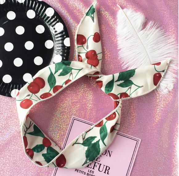 Free shipping women's cheery hairbands stripe girl's thin headwear fantasia bow summer color hair accessories