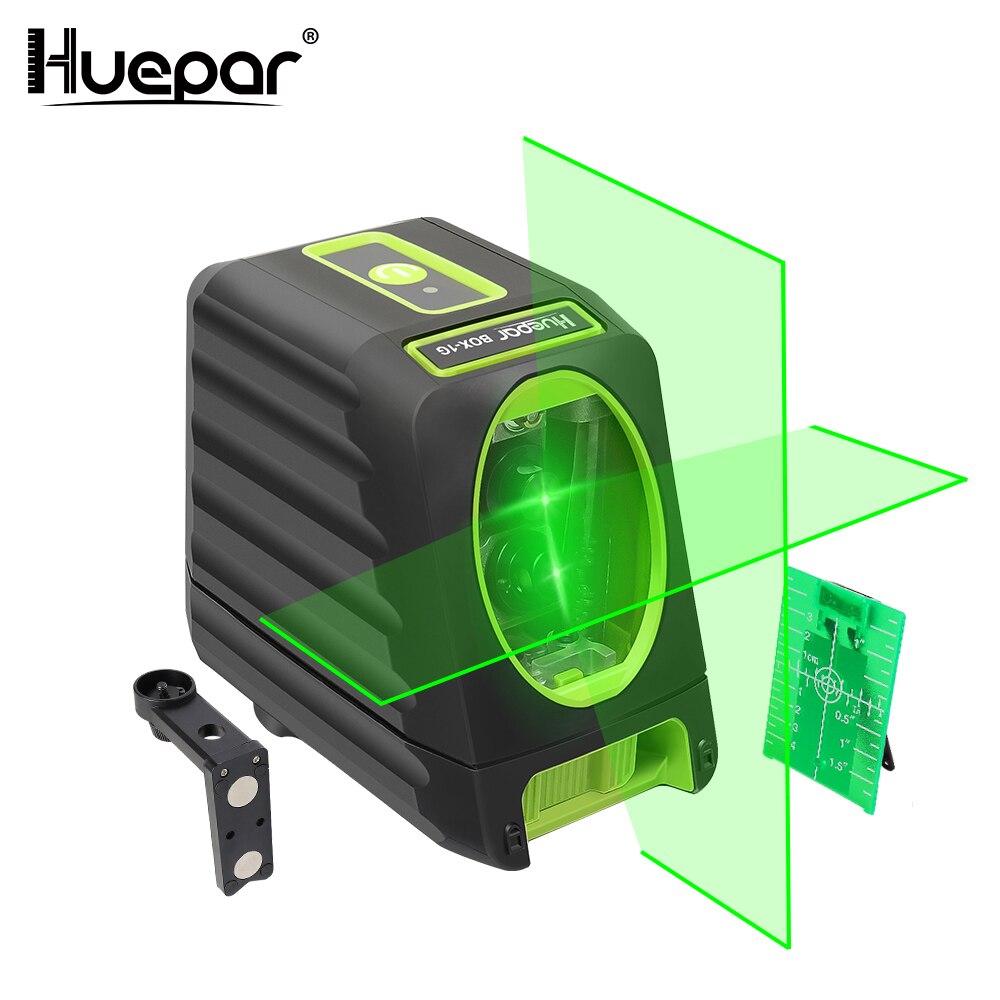 Huepar Auto-nivellement Vertical et Horizontal Lasers Vert Faisceau Croix Ligne Laser Niveau 150 Degrés 510nm Nivel Laser Pour une Utilisation en extérieur