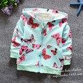 2016 de la rebeca del resorte ocasional venta al por mayor coreano chaqueta de algodón mariposa cubierta con tinta