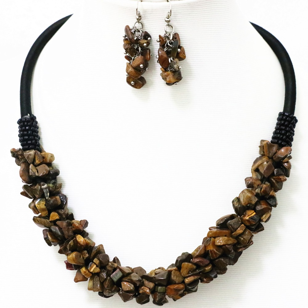 Fashion tiger stone 9x11mm hot Irregular gravel beads necklace&earing 18″ B519