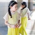 2016 New Summer Girls Beach Dress Cotton Children Dress Kids Lace Dress Parented Clothes, 3-16Y