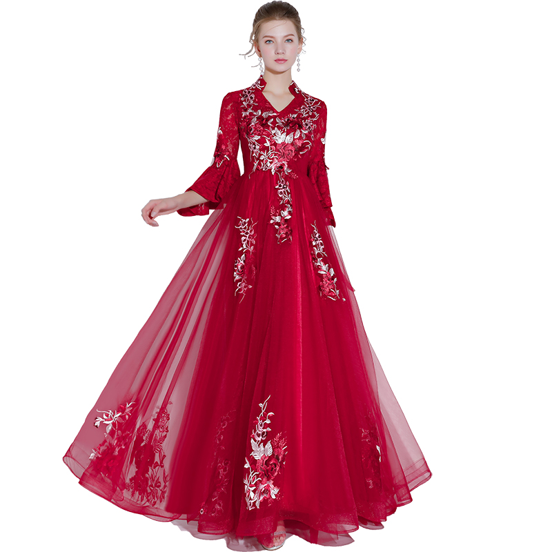 Beauty Emily Wine Red Lace   Evening     Dresses   2019 O Neck A line Formal Party Prom   Dresses   Floor-length Court Train   Evening   Gown