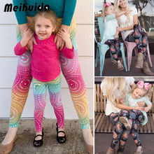 PUDCOCO Family Matching Outfits Mother Daughter Women Girls Print yoga Skinny Pants Active Leggings Clothes