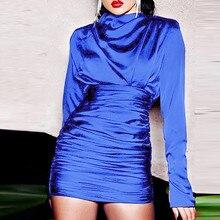 Fashion Female Long Sleeve Fold Buttock Party Dress Women Turtleneck Pure Color Dresses Ladies vintage clothes kleider damen