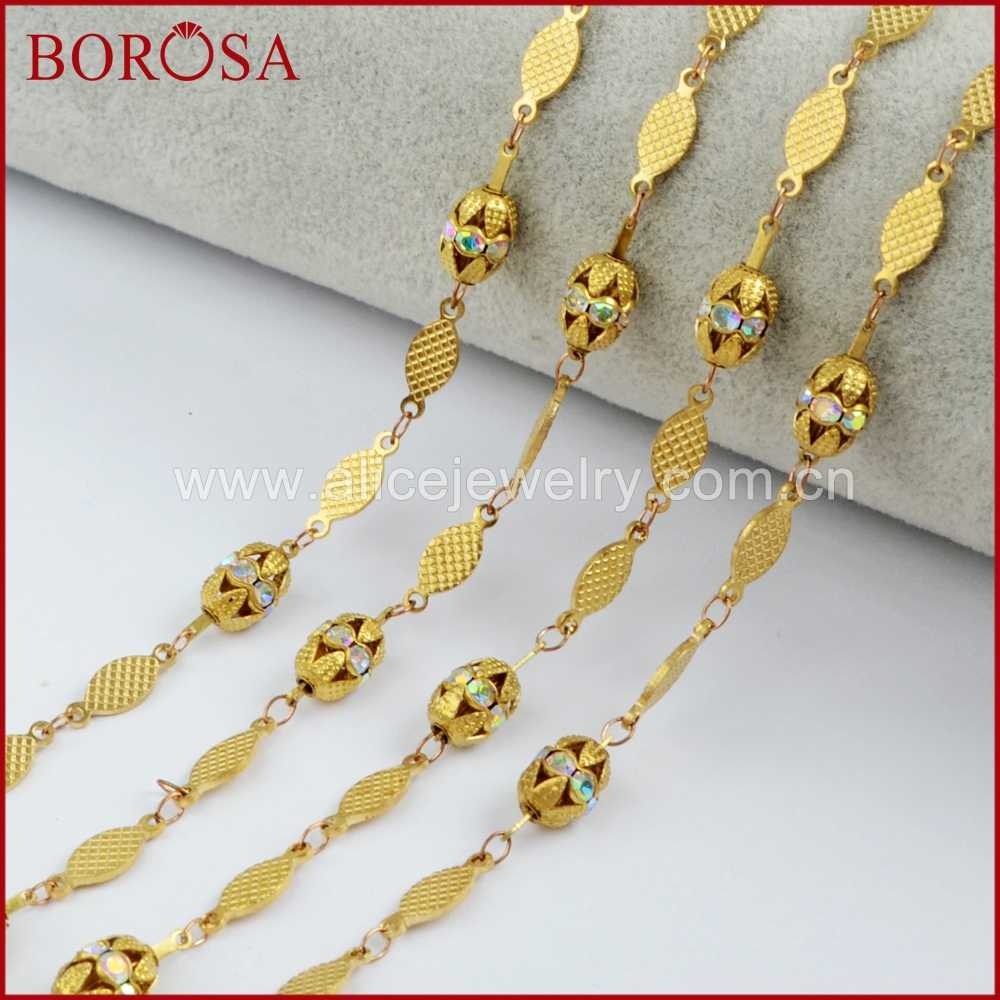 BOROSA 5 Meters Crystal Facet Cut Brass Chains Jewelry Findings Metal Chains for Jewelry Making PJ088