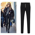 A new women's winter 2015 breasted Leggings wholesale fashion Perfect Slim pants slim feet