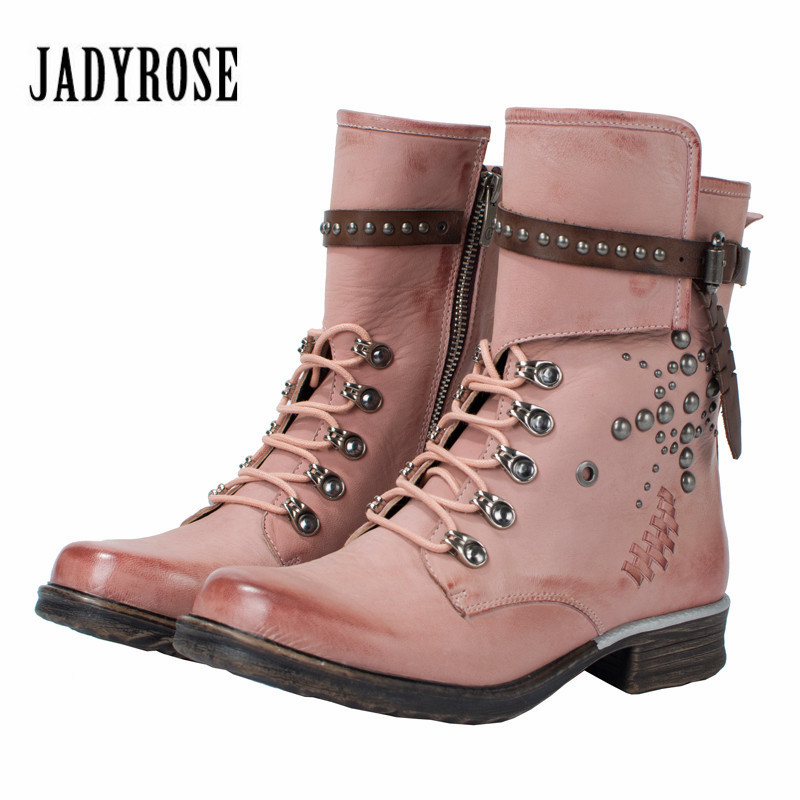 Jady Rose Punk Style Pink Ankle Boots for Women Rivets Studded Leather High Boot Autumn Winter Female Platform Rubber Boots original ijoy saber kit 100w vape pen kit 100w saber mod with 5 5ml diamond atomizer subohm 25mm tank electronic cigarette saber