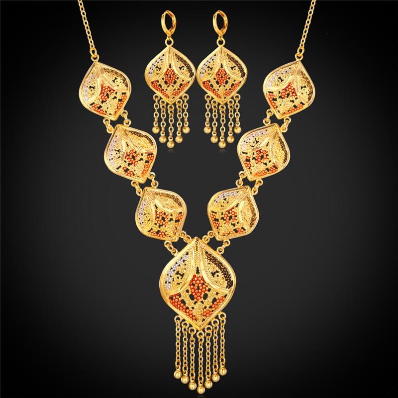 color oro indio de la joyera de las mujeres collar y pendientes de gota de la