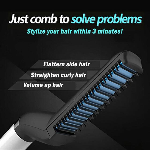 Men Quick Beard Straightener Styler Comb Multifunctional Hair Curling Curler Show Cap Tool @ME88