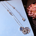 S925 pure color micro inlay Snowflake Necklace Silver chain wholesale women's South Korea all-match clavicle