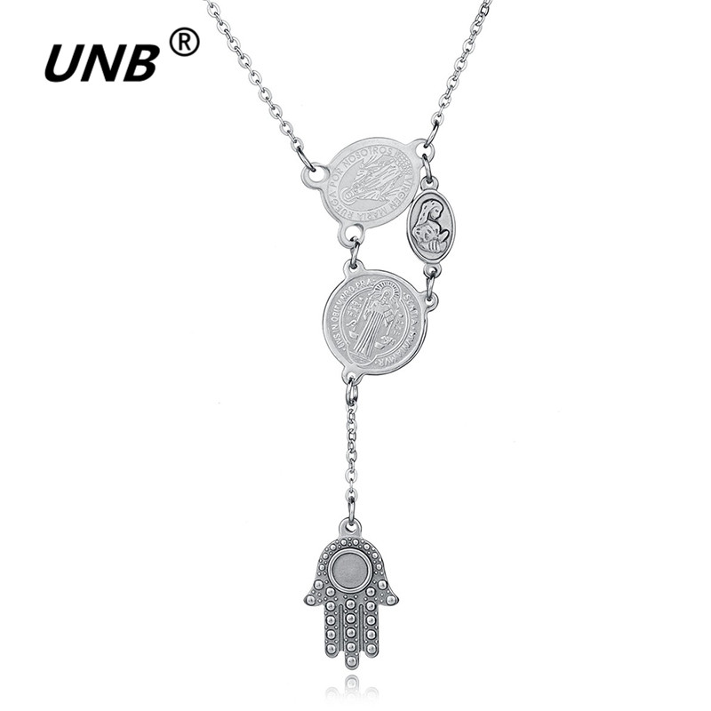 UNB 2017 New Novelty Sculpture Virgin Mary Hamsa Hand Pendant Necklace Stainless Steel Choker Maxi Necklaces Christmas Gifts