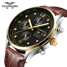 цена на Relogio Masculino GUANQIN Automatic Mechanical Watch Men Date Week Waterproof Watches Mens Leather Wristwatch erkek kol saati