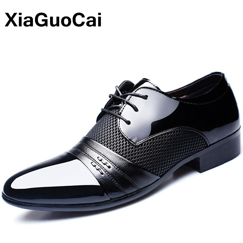 Men Formal Shoes Patent Leather 2019 Oxford Shoes For Men Dress Shoes Pointed Toe British Breathable Business Luxury Plus Size