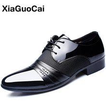 Men Formal Shoes Patent Leather 2019 Oxford For Dress Pointed Toe British Breathable Business Luxury Plus Size
