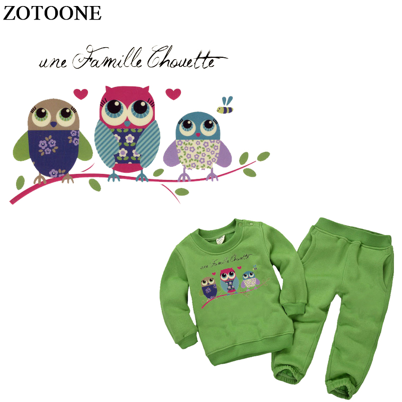 ZOTOONE Owl Baby Clothes Patches Stickers Birthday Heat Transfers DIY Accessory Appliques Iron-on Patch for Kids Dress E