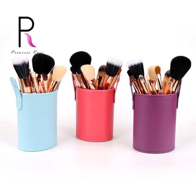 Princesa Rosa Professional 12 pcs Rainbow Conjunto de Pincel de Maquiagem Make Up Pincéis Pincel Maquiagem Maquillage Pinceaux com Suporte de Escova
