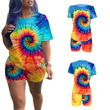 2019 hot selling Summer Print Set Connector Trend Short Sleeve Shorts two suit for lady