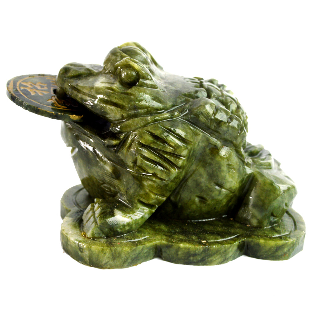 Feng Shui Big Jade Money Frog Toad For Wealth AA437