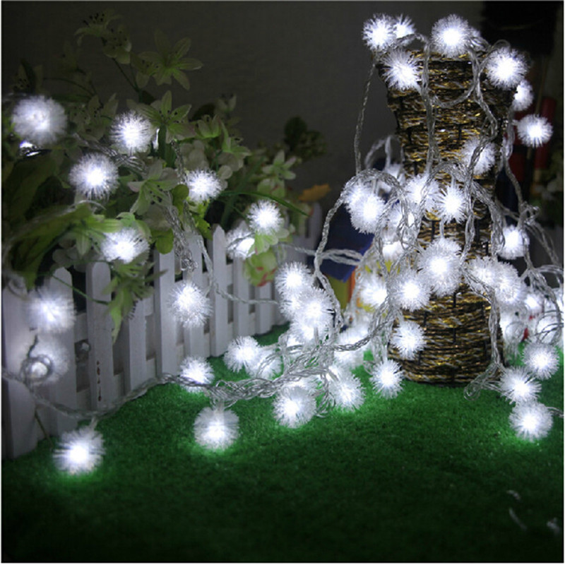 10M 50 LED Furry Ball RGB Edelweiss Snowflake rəhbərlikli String Light, 220V / 110V rəngli Milad açıq havalı simli işıq