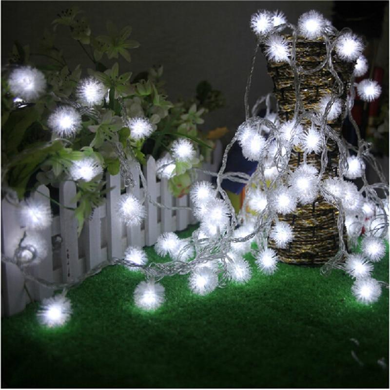 10M 50 LED Furry Ball RGB Edelweiss Snowflake ledo šviestuvas, 220V / 110V spalvinga Kalėdų lauko ledo lemputė