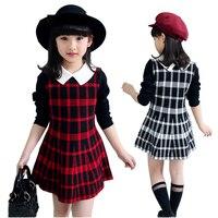 New Girls Dress Plaid Full Sleeve Girls School Uniform Knitted Teenage Girls Clothes Kids Brand Clothing