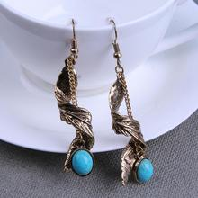 Antique Retro Jewelry Leaf Feather Chain Earrings