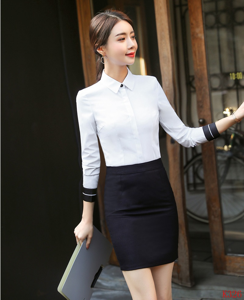 Long Sleeve White Piece Suits Women Ladies And Ol Styles Sets Skirt Top Summer With Two Blouses Shirts 7AwWqO