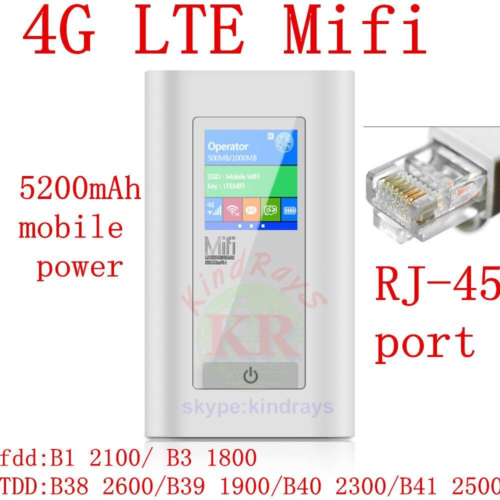 Rj45 port mifi 4g Wifi Routeur 4g dongle Mifi FDD-LTE Déverrouiller Dongle 5200 mah Puissance Banque wifi routeur pk e5770 e5370 b593 e5372 af23