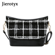 JIEROTYX New Elegant Shoulder Bag Women Leather 2019 Fashion Woolen Zipper crossbody bags for women messenger bag bolsas