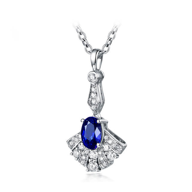 3e06ede91e3 Oval Blue Sapphire Diamond Pendant Necklace Real 14K White Gold Fine  Jewelry For Women Anniversary Gift-in Pendants from Jewelry & Accessories  on ...