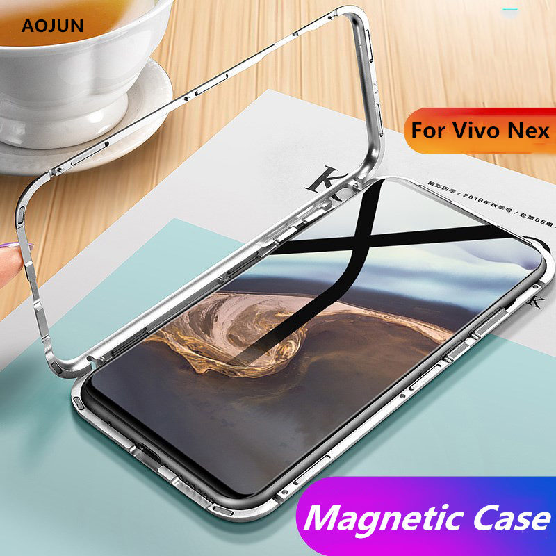 online retailer b4edc 3da09 US $10.99  Aojun Magnetic Adsorption Case For Vivo Nex Clear Tempered Glass  Back Cover For Vivo Nex Magnet Metal Bumper-in Fitted Cases from ...