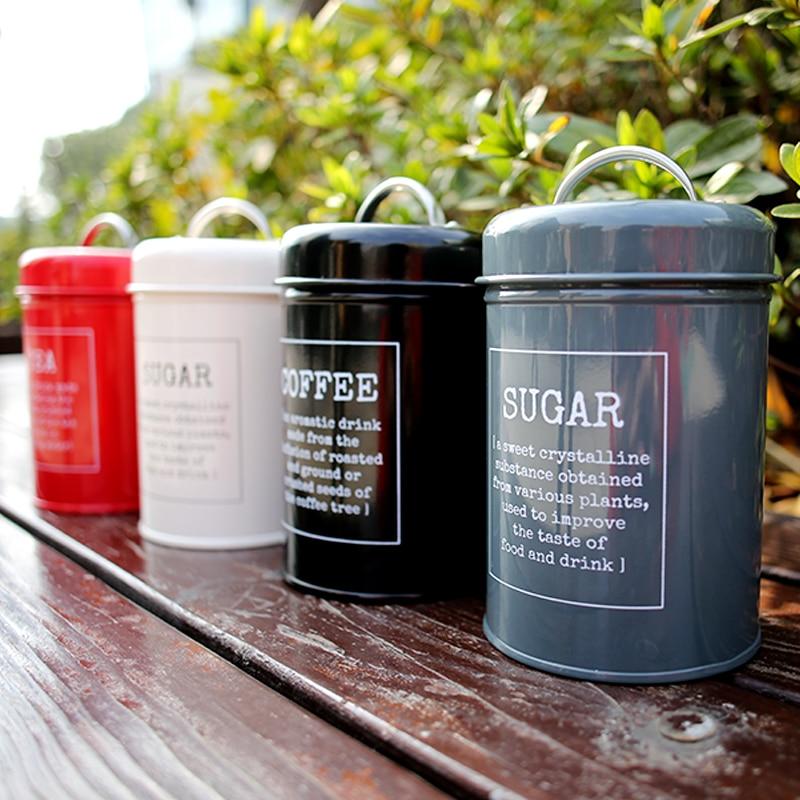 Metal Colorful Seal Storage Jar  Coffee Sugar Tea Container Classical Minimalist Nordic Desktop Storage Bottle Home Organizer Storage Bottles & Jars     - title=