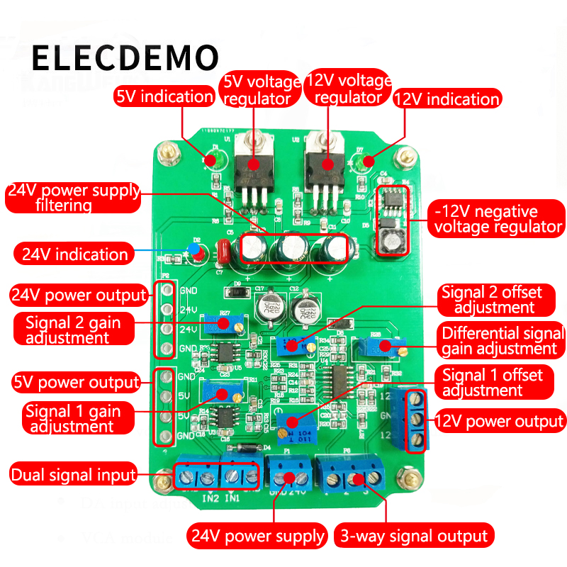 Image 3 - AD620 module High Gain Instrumentation Amplifier AD620 Transmitter Voltage Amplifier Module Dual Differential Output-in Demo Board Accessories from Computer & Office