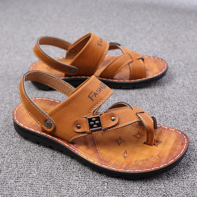 1c006b2ab566 ... mens sandals 2018 summer outdoor beach slide sandals leather shoes  luxury brand fashion breathable casual male ...
