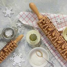 Christmas Embossing Rolling Pin  – Baking Cookies – Biscuit Fondant  – Cake Dough Engraved – Wooden Roller Reindeer – Snowflake 2 Sizes