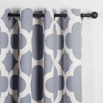 Ǐ�代四葉パターン遮光カーテンリビングルームの寝室の窓シェードブラインド黒アウトカスタムカーテンパネル