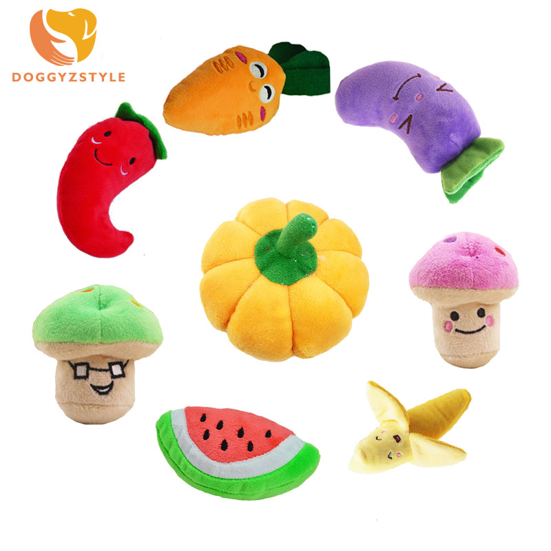 Funny Dog Puppy Squeaky Plush Chew Toy Outdoor Training Stuffed Fruits Vegetables Dolls For Pets Playing Sound Toys DOGGYZSTYLE