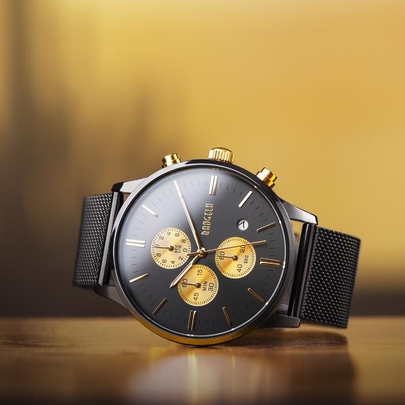 Herren Uhr Wasserdicht, Analog Quarz Handgelenk Uhren Gold Mit Schwarz Edelstahl Mesh Band, Chronograph Datum 1611-BAOGELA