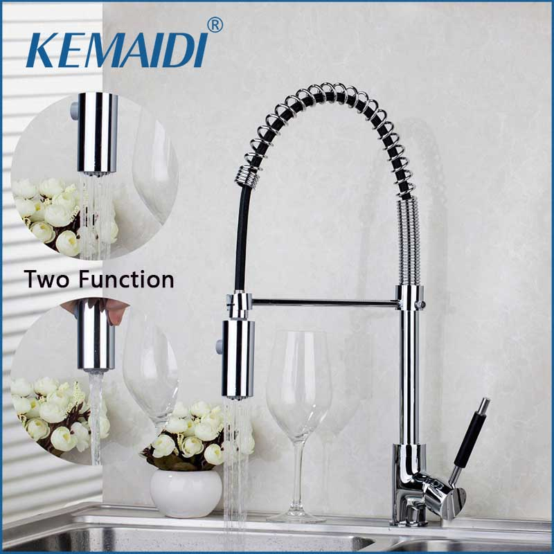 KEMAIDI 8538/10 Pull Up Down  Chrome Brass Swivel With Push Button Vessel Sink Mixer Tap Kitchen Faucet good quality wholesale and retail chrome finished pull out spring kitchen faucet swivel spout vessel sink mixer tap lk 9907