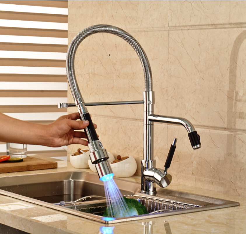 Deck Mount Chrome LED Light Kitchen Mixer Water Faucet Single Lever Two Swivel Spout Hot Cold Water Taps