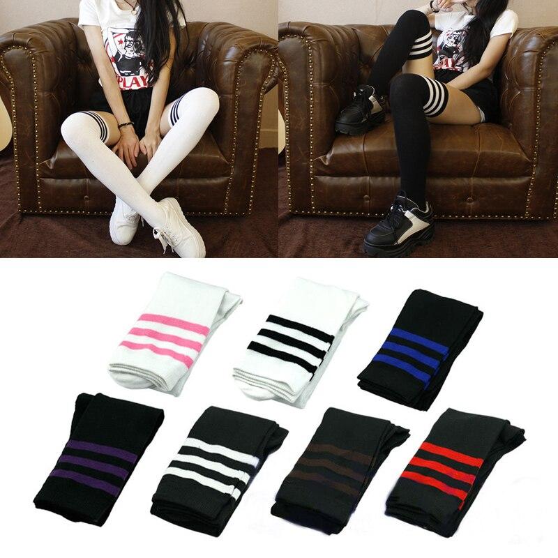 Fashion Sexy Girls Students Women Sexy Stripe Cotton Over Knee Socks Thigh High Stockings Long Socks Cotton Stockings