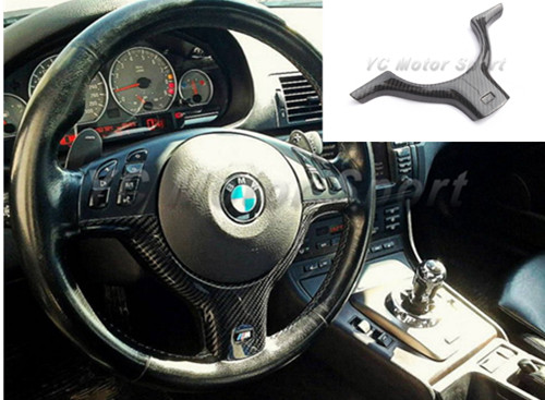 Car Accessories Carbon Fiber M3-Style Steering Wheel Cover Trim Fit For 1998-2005 E46 M3 Steering Wheel Cover Replacement senior luxury hand knitted bv style car steering wheel cover for mini cooper