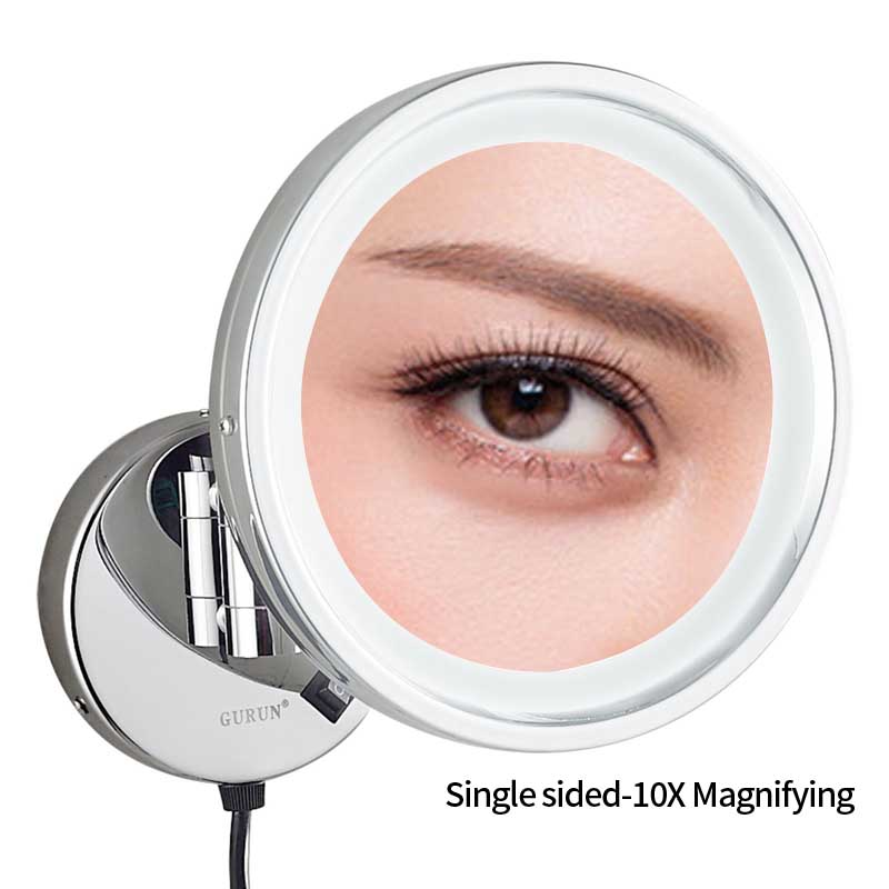 Gurun Bath Wall Mount Lighted Vanity Magnifying Makeup Mirror with 10X Magnification Cosmetic Swivel Extended Mirrors