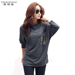 Treroninae loose top women batwing sleeve tee shirts female black knitted t shirt spring autumn plus.jpg 250x250
