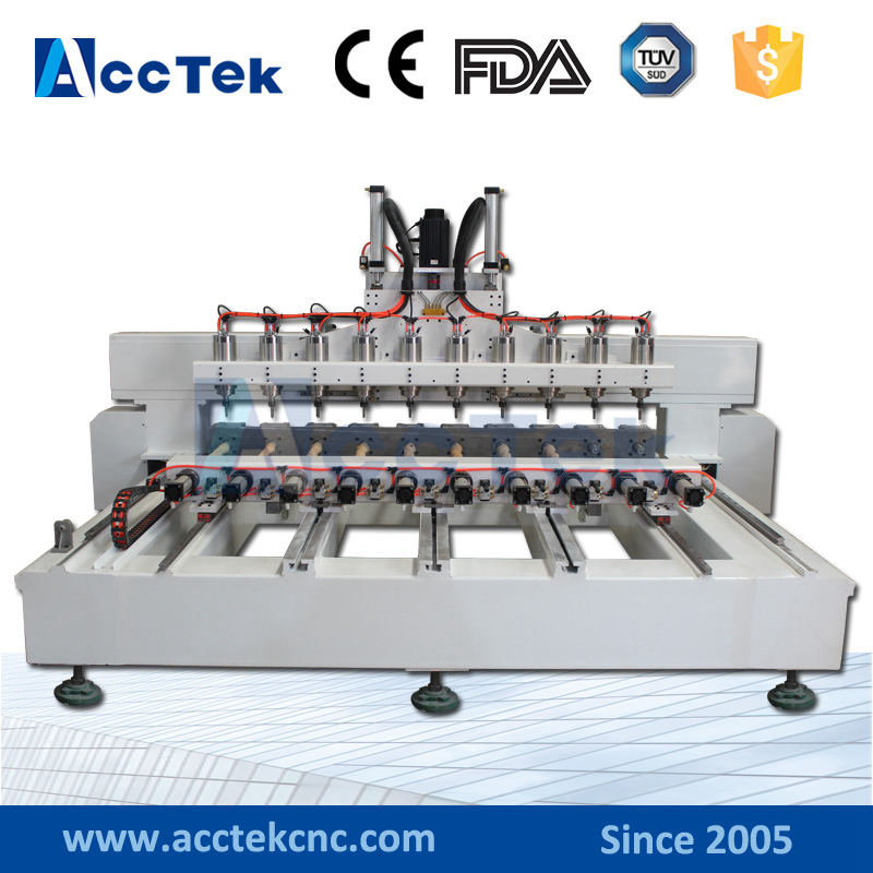 Multifunctional 10 Rotary Heads Wood Cnc Engraver Multi Head Cnc 4 Axis Router With CE Certificate