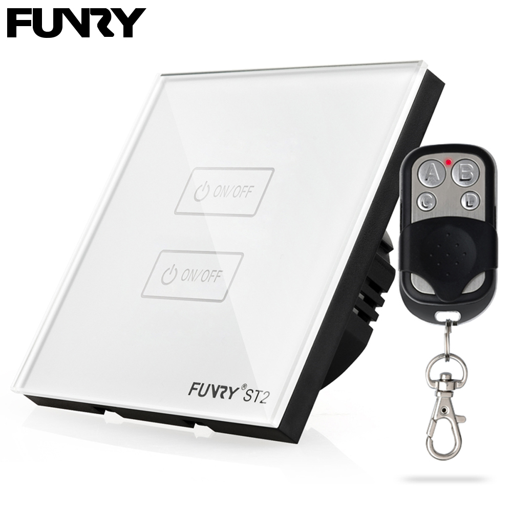 Funry ST2 2Gang EU Standard Touch Screen Smart Switch Surface Waterproof Tempered Glass 170 240V RF433MHz