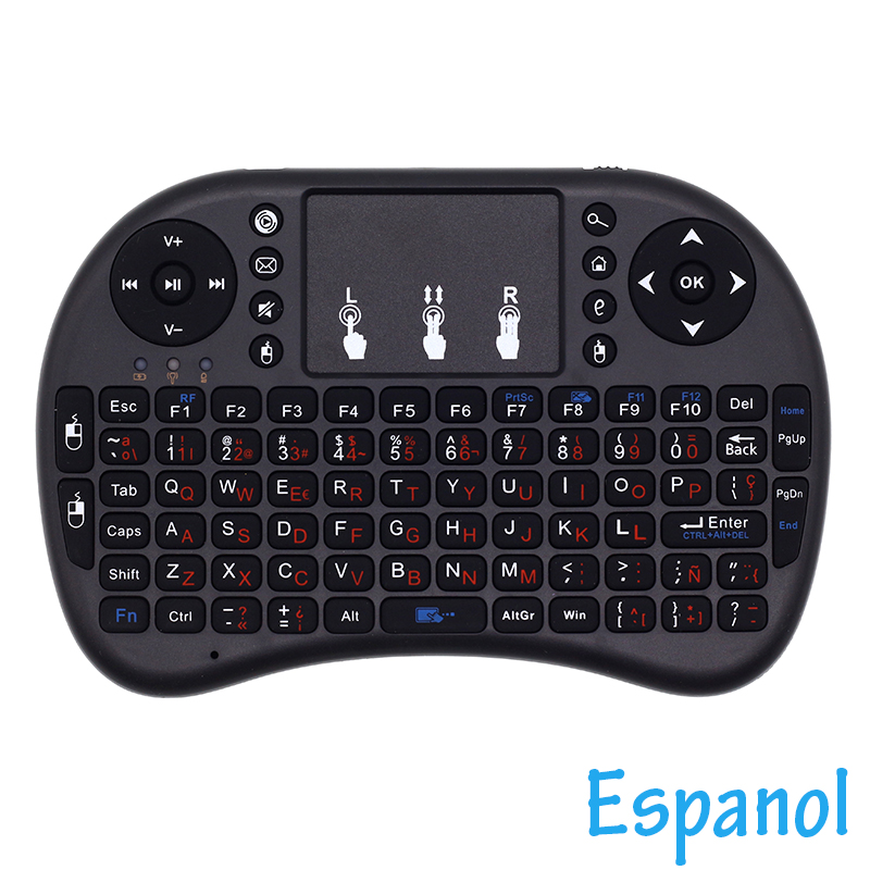 Dapper I8 Espanol Spaans Toetsenbord 2.4g Mini Wireless Keyboard Air Mouse Met Touchpad Voor Android Tv Box/mini Pc /projectoren