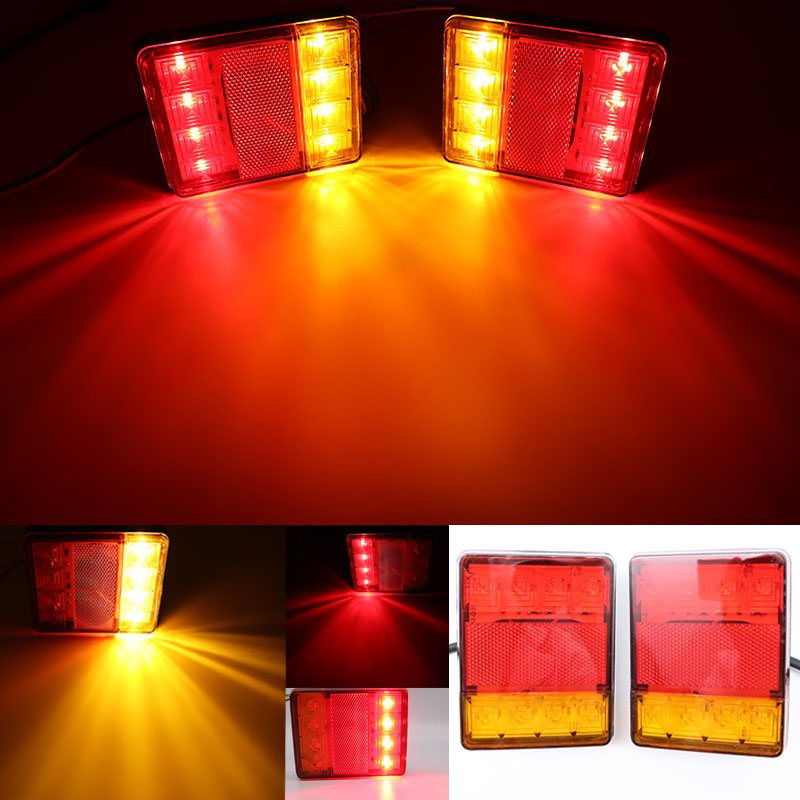 2pcs 12V Waterproof Durable Car Truck Led Rear Tail Light Lamp Brake Warning Light For Trailer Caravans UTE Campers ATV Bus