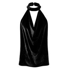 In the summertime of 2017 new girls's European type trend all-match vest Halter backless skinny velvet coat